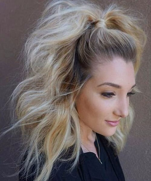 bouffant ponytail medium length hairstyles