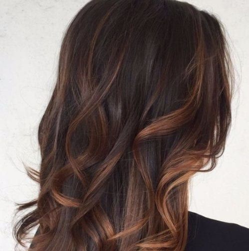 chocolate and caramel balayage hair color