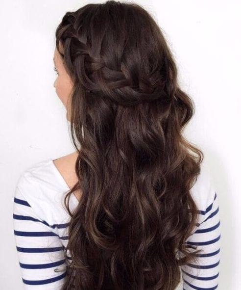 chocolate brown hair french briad crown