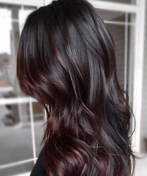 chocolate brown hair plum ombre