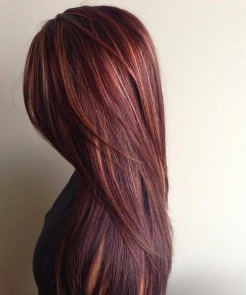 chocolate brown hair with caramel and red highlights