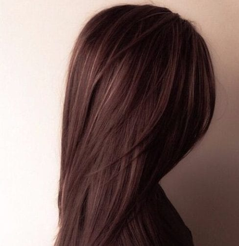 dark chocolate with golden balayage hair color