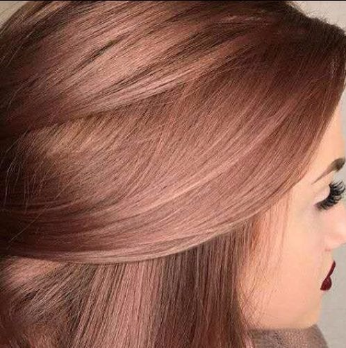 dark rose gold balayage hair color