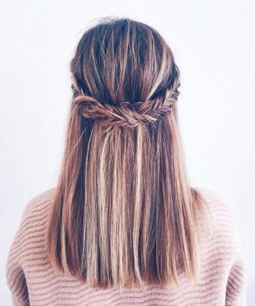 fishtail half updo medium length hairstyles