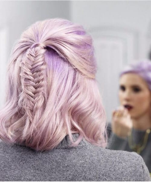 fishtail on pastel indigo medium length hairstyles