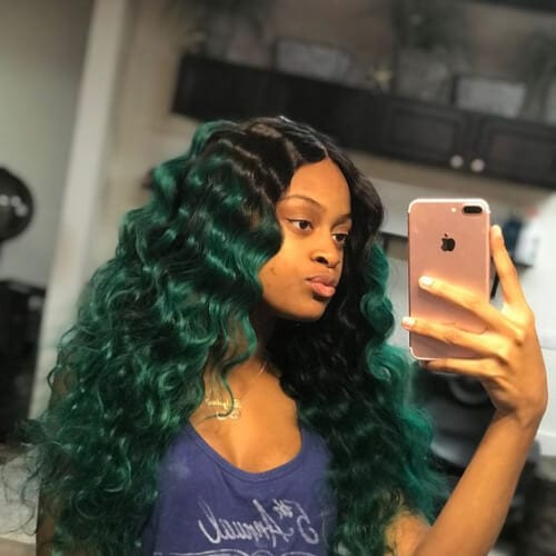 green weave hairstyles