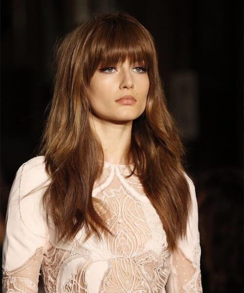 hot chocolate bangs medium length hairstyles