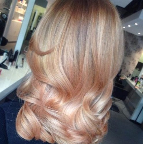 light tangerine and cream balayage hair color