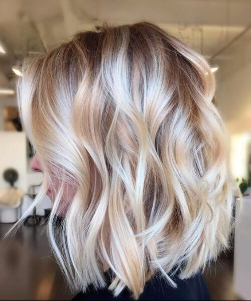 lush creamy beige medium length hairstyles