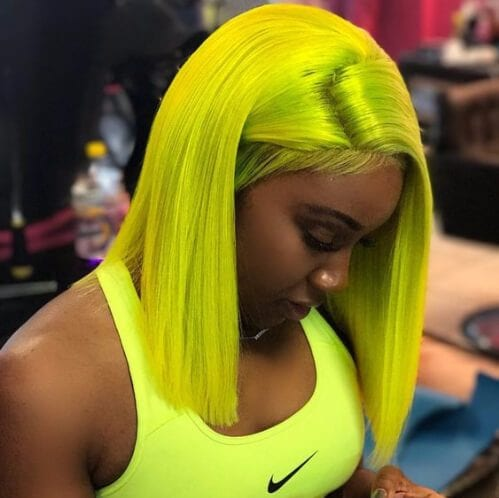 neon yellow weave hairstyles
