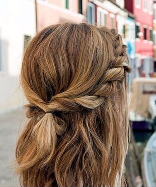 romantic braid medium length hairstyles