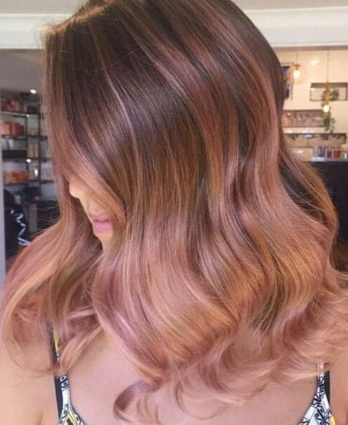 rose gold ombre medium length hairstyles