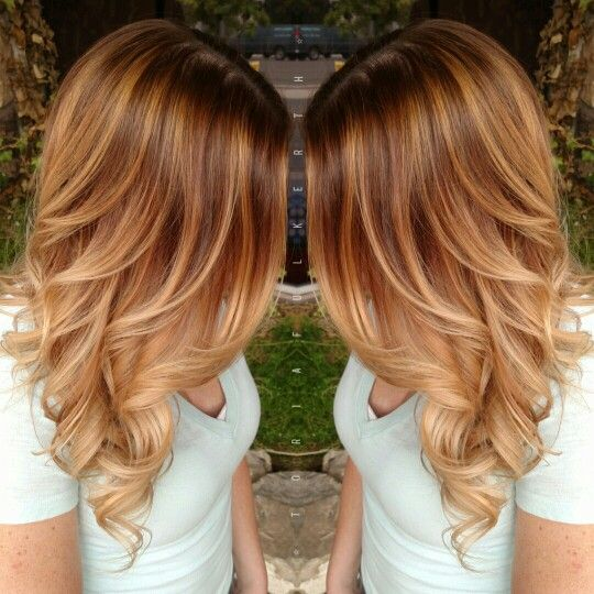 Light brown base with graduated blonde highlights brown hair with blonde highlights