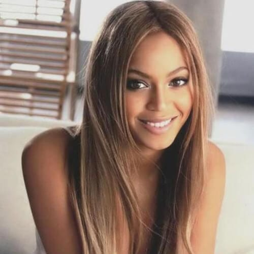 beyonce brown hair with blonde highlights