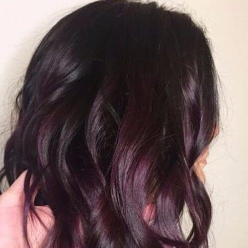 brunette shaded plum hair color