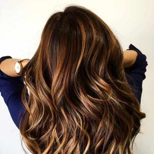 caramel brown hair with blonde highlights