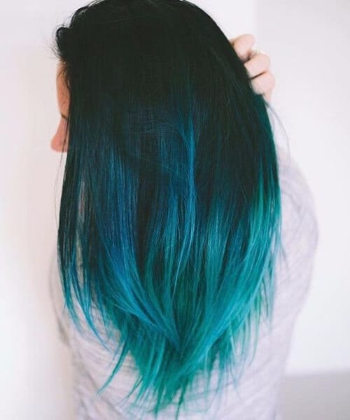 cold ombre blue teal hair color