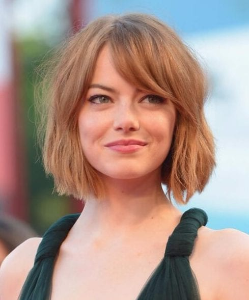 emma stone hairstyles with bangs