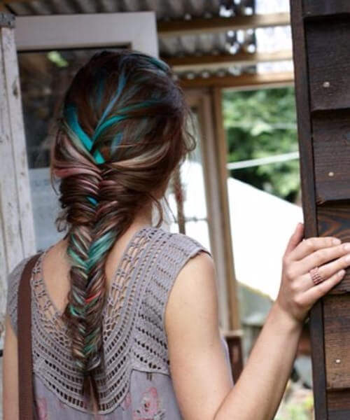 fishtail braid teal hair color