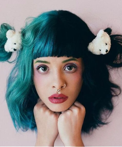 half and half creative teal hair color