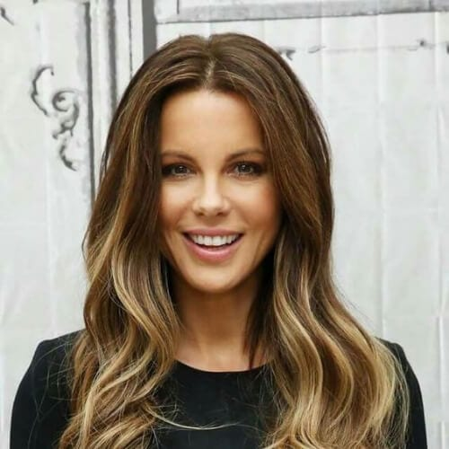 kate beckinsale brown hair with blonde highlights