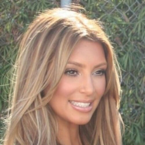 kim k brown hair blonde highlights