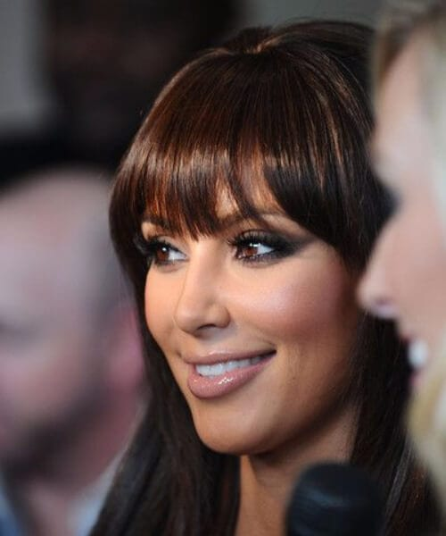 kim k hairstyles with bangs