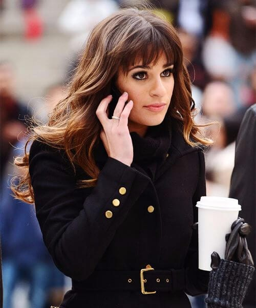 lea michele hairstyles with bangs