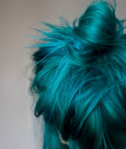 messy bun teal hair color