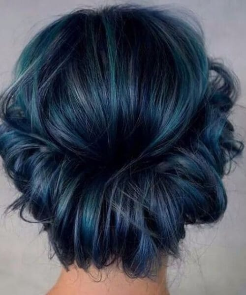 messy crown midnight teal hair color