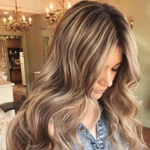 mocha brown hair with blonde highlights