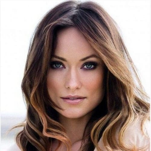 olivia wilde brown hair with blonde highlights