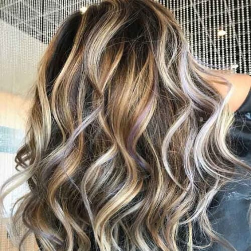 perfect waves brown hair with blonde highlights