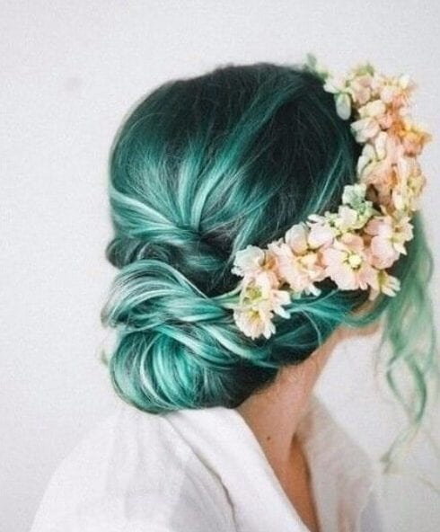 romantic chic teal hair color