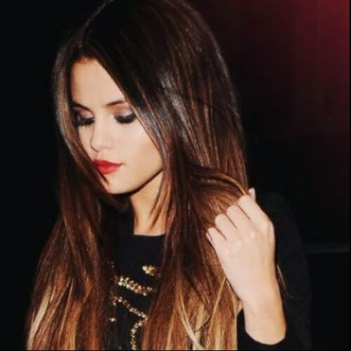 selena gomez brown hair with blonde highlights