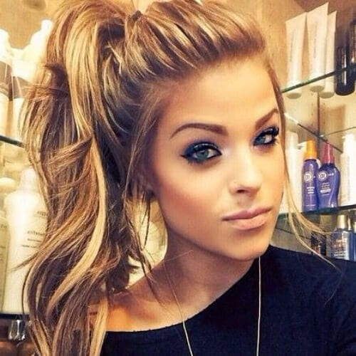 side ponytail brown hair with blonde highlights