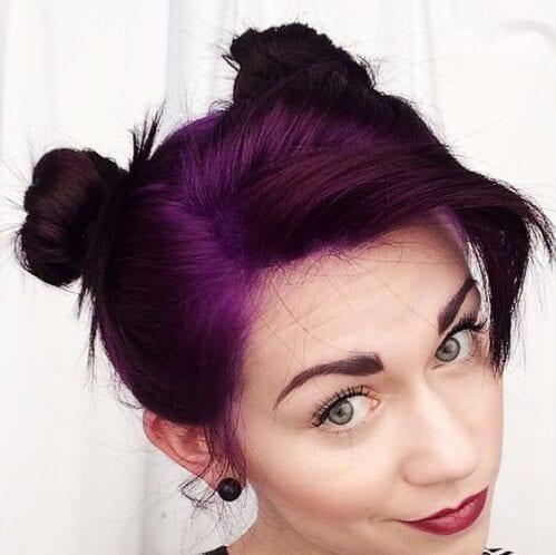 space buns plum hair color