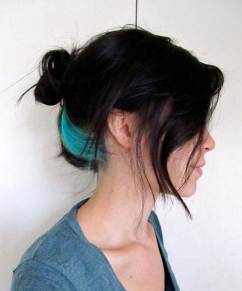 streak teal hair color