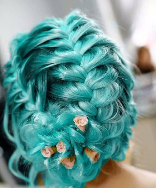 wedding teal hair color