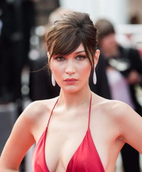 bella hadid side swept bangs