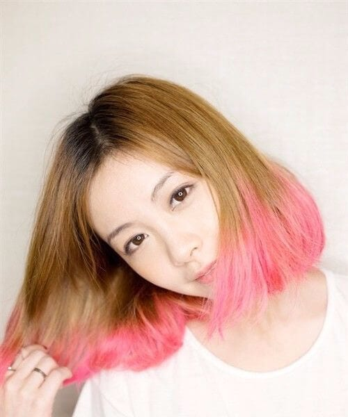 chocolate and strawberry icecream short hair ombre
