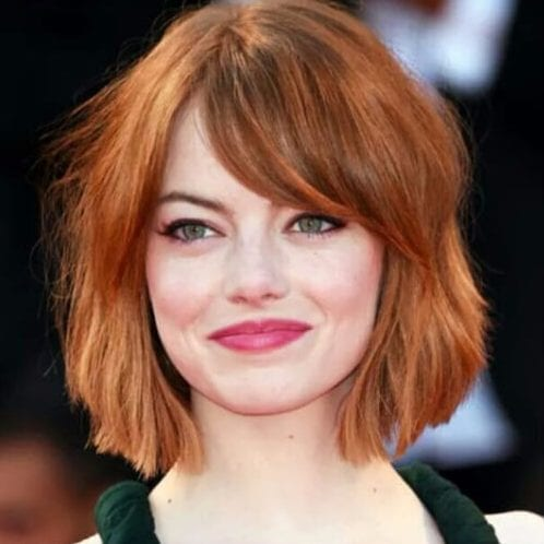 emma stone short hairstyles for thick hair