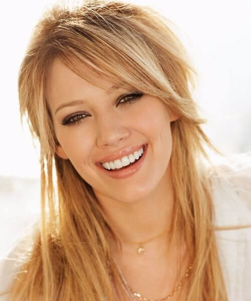 hilary duff side swept bangs