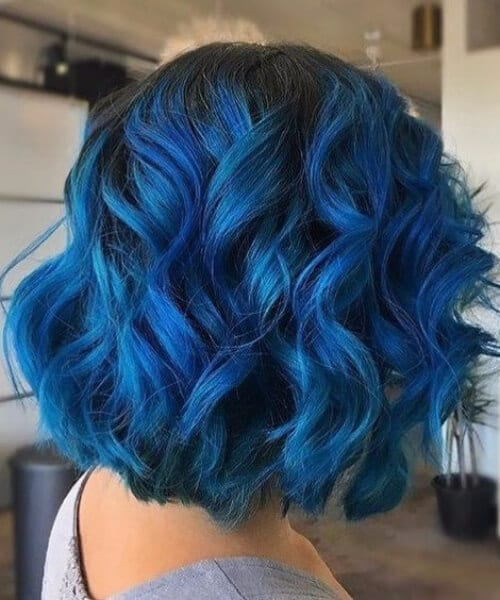 ink blue short hair ombre