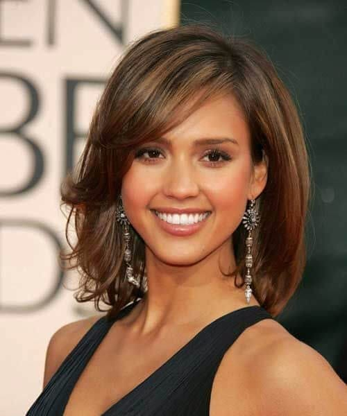 jessica alba side swept bangs