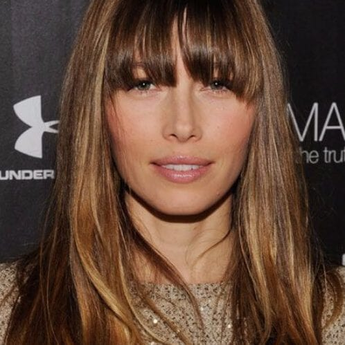 jessica biel long hair with bangs