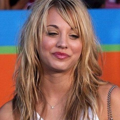 kaley cuoco long hair with bangs