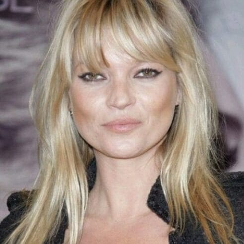kate moss long hair with bangs
