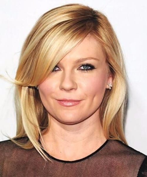 kirsten dunst side swept bangs