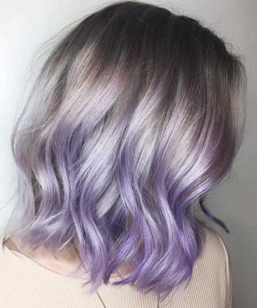 lavender short hair ombre